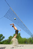 Teen Jumps In Beach Volleyball Stock Photo