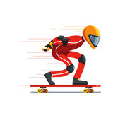 Teen kid longboard rider in protective gear riding stock illustration