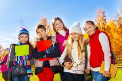 Teen kids after school Stock Photos