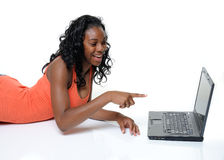 Teen And Laptop Computer Stock Photography