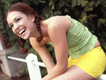 Teen laughing. Young hispanic girl laughing Royalty Free Stock Photography