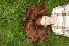 Teen laughing with red hair Royalty Free Stock Photography