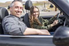 Teen learning to drive or taking driving test. Stock Image
