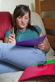 Teen listens to music Royalty Free Stock Image