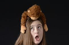 Monkey on my back-surprised Royalty Free Stock Image