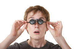 Teen WIth Loupe Glasses Royalty Free Stock Photography