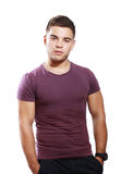 Teen male. Attractive healthy teen male model over white background Stock Images