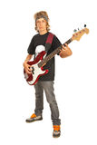 Teen male with bass guitar. Teen boy playing bass guitar isolated on white background Royalty Free Stock Images