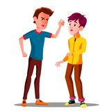Teen Male Conflict Of Young People, Fight, Violence Vector. Isolated Illustration vector illustration