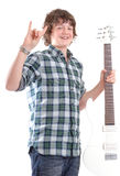 Teen male with electric guitar Royalty Free Stock Photography