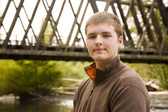 Teen Male Portrait. A portrait of a handsome teen boy outside Royalty Free Stock Image