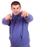 Teen man pointing on you Stock Images