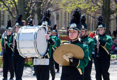 Teen marching band in green Stock Image