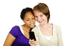 teen mobil telefon för flickor Royaltyfria Bilder