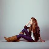 teen modeflickamodell Fotografering för Bildbyråer