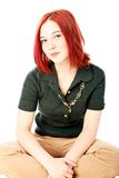 Teen model. Cute teen girl with red hair posing for portrait Stock Photos