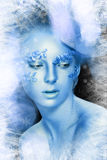 Teen Model Fashion. Beautiful Teen Model Fashion Glamour Makeup and Hairstyle. Glamor Blue winter Make-up.Holiday blue Makeup Stock Photos