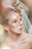Teen Model Fashion. Beautiful Teen Model Fashion Glamour Makeup and Hairstyle. Glamor Golden Make-up.Holiday Gold Makeup Stock Images