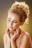 Teen Model Fashion. Beautiful Teen Model Fashion Glamour Makeup and Hairstyle. Glamor Golden Make-up.Holiday Gold Makeup royalty free stock images