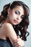 Teen model girl. Fashion Beauty Portrait of teen model girl. Healthy Hair. Hairstyle. Holiday Makeup Stock Photography