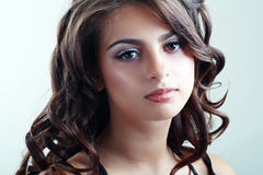 Teen model girl. Fashion Beauty Portrait of teen model girl. Healthy Hair. Hairstyle. Holiday Makeup Royalty Free Stock Photos