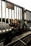Teen Model On Wooden Bridge Stock Photos