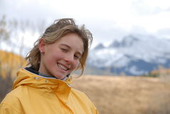 Teen in the mountains. Young teen on a trip in the mountains Royalty Free Stock Photo