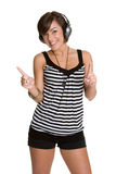 Teen Music Girl. Pretty happy teen music girl Royalty Free Stock Image
