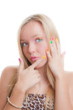 Teen nails. Teen girl after manicure with painted nails Stock Images