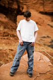 Teen in nature portrait. Teen in nature, in wilderness area standing on large flat rock stock image