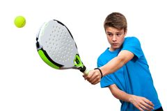 Teen paddle player in action isolated. Close up of teen boy paddle player in action isolated against white background stock photography