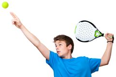 Teen paddle player isolated. Royalty Free Stock Photos
