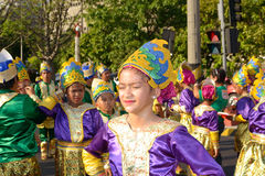 Teen-participants. Manila, Philippines - April 14: Street dancerin colorful attire awaiting their turn during Aliwan Fiesta, which is the biggest annual national Stock Photos