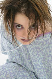 Teen Patient. Beautiful teen girl in hospital gown with oxygen tube Royalty Free Stock Photos