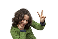 Teen with peace sign royalty free stock images