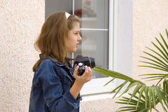 Teen photographer Stock Photography