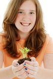 Teen With Plant Royalty Free Stock Photos