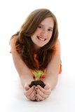Teen With Plant stock images