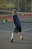 Teen Playing Tennis - Two Handed Backhand Royalty Free Stock Image