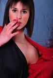 Teen portrait on vivid colour Stock Photos