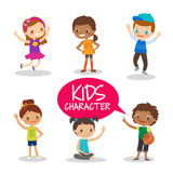 Teen preteen kids cartoon characters Royalty Free Stock Photos