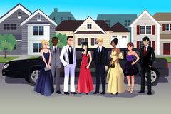 Teen in prom dress standing in front of a long limo. A vector illustration of teen in prom dress standing in front of a long limo Royalty Free Stock Image