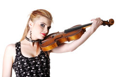 Teen punk girl with her fiddle. Royalty Free Stock Photos
