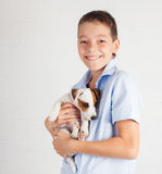 Teen with puppy Stock Photo