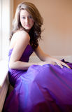 Teen in Purple Gown Royalty Free Stock Photography