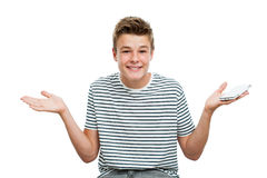 Teen raising hands holding smart phone. Stock Image