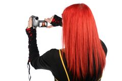 Teen recording with her video camera Stock Images