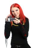 Teen recording with her video camera Royalty Free Stock Photo