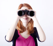 Free Teen Redhead Girl With Binoculars Stock Photo - 22900310