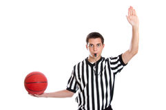 Teen referee giving inbound pass sign Royalty Free Stock Image